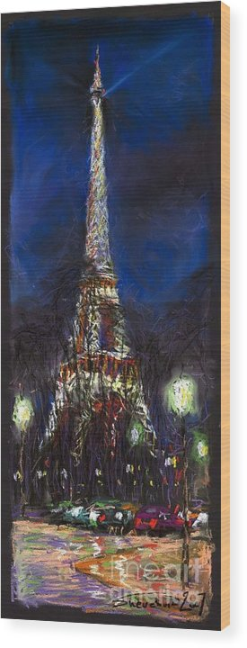 Pastel Wood Print featuring the painting Paris Tour Eiffel by Yuriy Shevchuk
