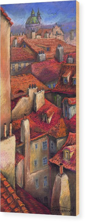 Prague Wood Print featuring the painting Prague Roofs by Yuriy Shevchuk