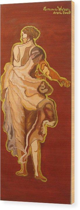 Figurative Wood Print featuring the painting Seventeenth Portrait by Erminia Schirru