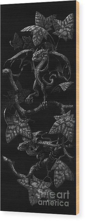 Dragon Wood Print featuring the drawing Snap Dragons by Stanley Morrison