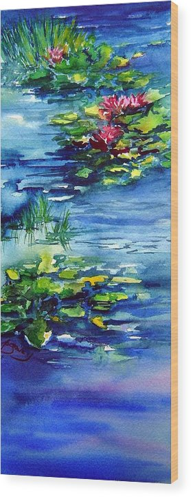 Waterlilies Wood Print featuring the painting Waterlilies by Joanne Smoley