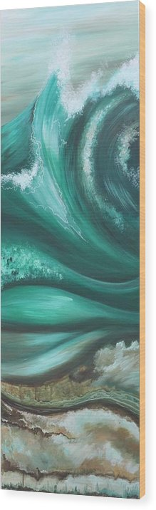 Nature Wood Print featuring the painting Elemental Sea No 2 by Helen Bennett