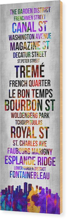 New Orleans Wood Print featuring the digital art Streets Of New Orleans 1 by Naxart Studio