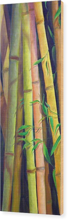 Plant Wood Print featuring the painting Bamboo by Dorothy Nalls