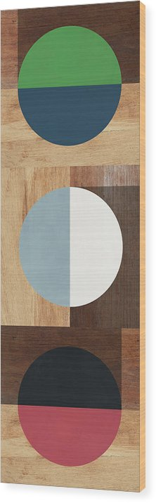 Modern Wood Print featuring the mixed media Cirkel Trio- Art By Linda Woods by Linda Woods