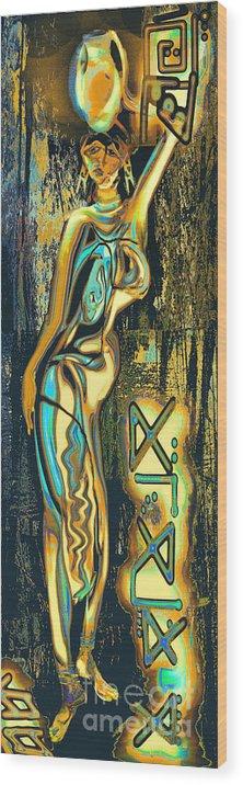 Massai Wood Print featuring the painting Massai by Anne Weirich