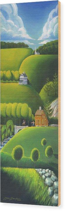 Deecken Wood Print featuring the painting Narrow Foothills by John Deecken