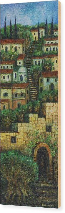 Image Wood Print featuring the painting Old City No 2. by Evgenia Davidov