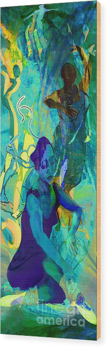 Woman Wood Print featuring the painting Pas De Deux by Anne Weirich