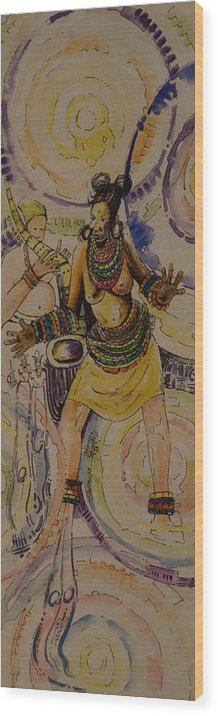 Wood Print featuring the painting Royal Entry by Alfred Awonuga