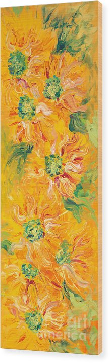 Yellow Wood Print featuring the painting Textured Yellow Sunflowers by Nadine Rippelmeyer