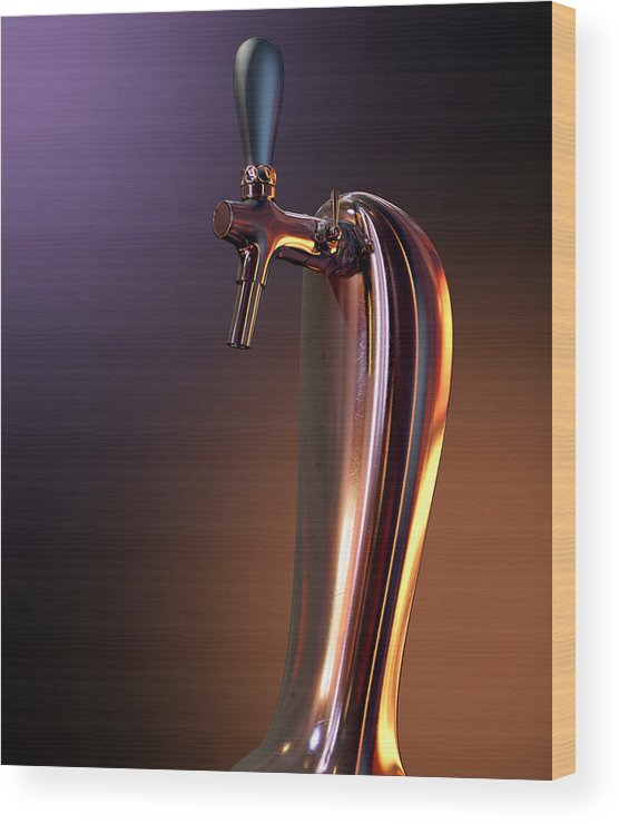 Alcohol Wood Print featuring the digital art Beer Tap Single Moody by Allan Swart