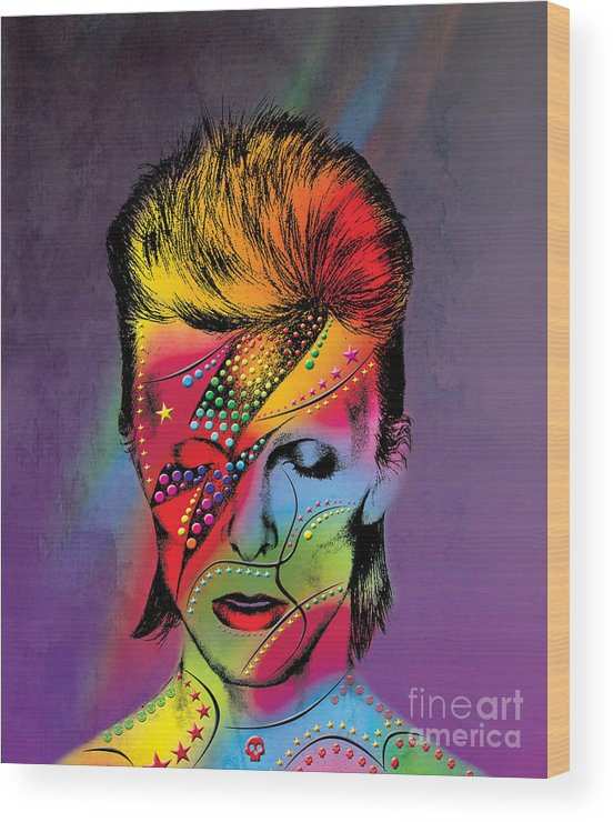 Wood Print featuring the photograph David Bowie by Mark Ashkenazi