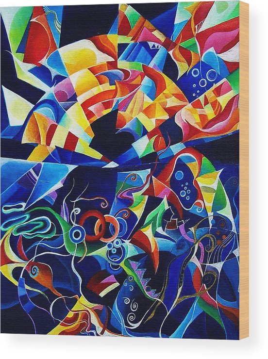 Alexander Scriabin Piano Sonata No.10 Acrylic Abstract Music Wood Print featuring the painting Scriabin by Wolfgang Schweizer
