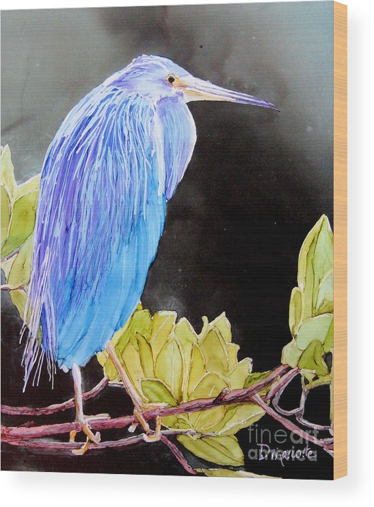 Heron Wood Print featuring the painting Tricolored Heron by Diane Marcotte