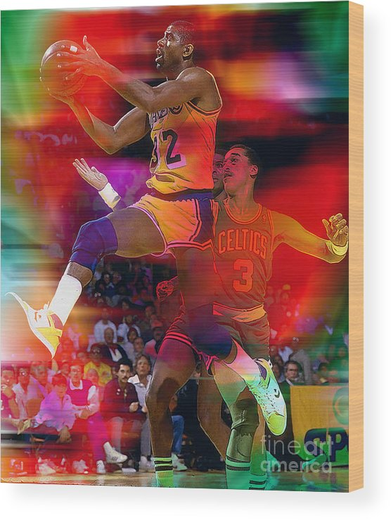 Magic Johnson Paintings Wood Print featuring the mixed media Magic Johnson by Marvin Blaine