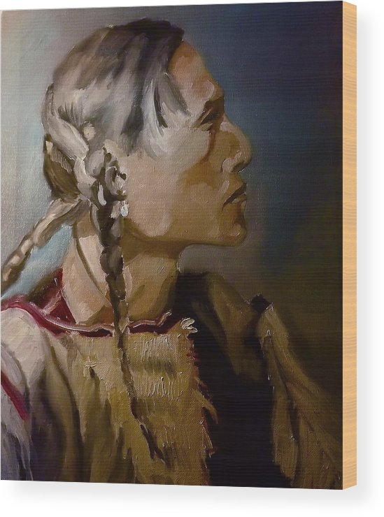 Portrait Wood Print featuring the painting American Indian by James Henderson