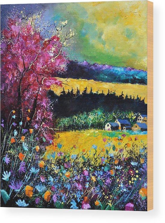 Landscape Wood Print featuring the painting Autumn Flowers by Pol Ledent