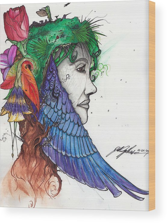 Wings Wood Print featuring the mixed media Beauty by Dillon Cupples