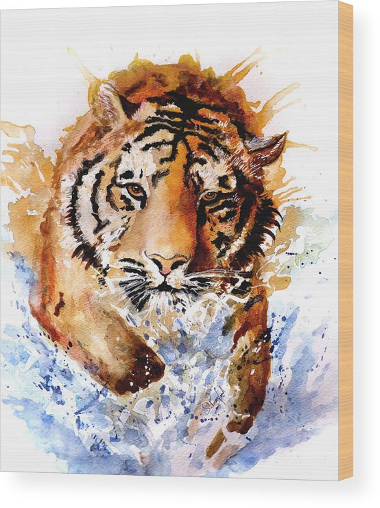 Animals Wood Print featuring the painting Big Splash by Steven Ponsford