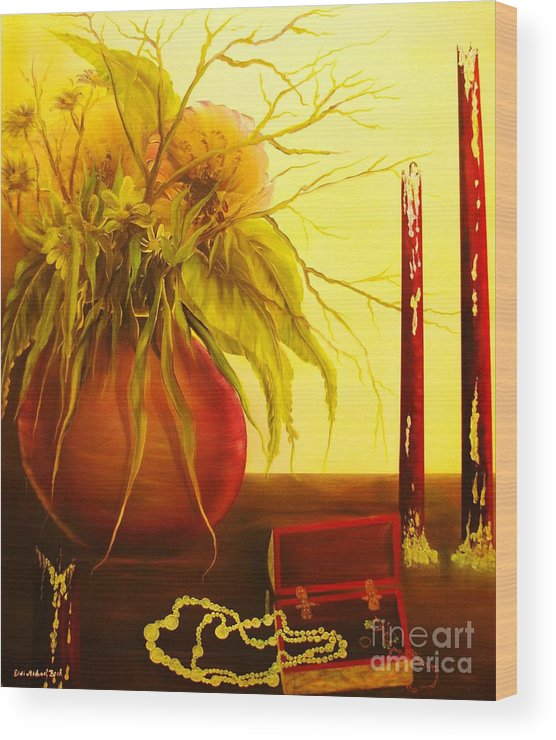 Floral Wood Print featuring the painting Day After-original Sold-buy Giclee Print Nr 28 Of Limited Edition Of 40 Prints by Eddie Michael Beck