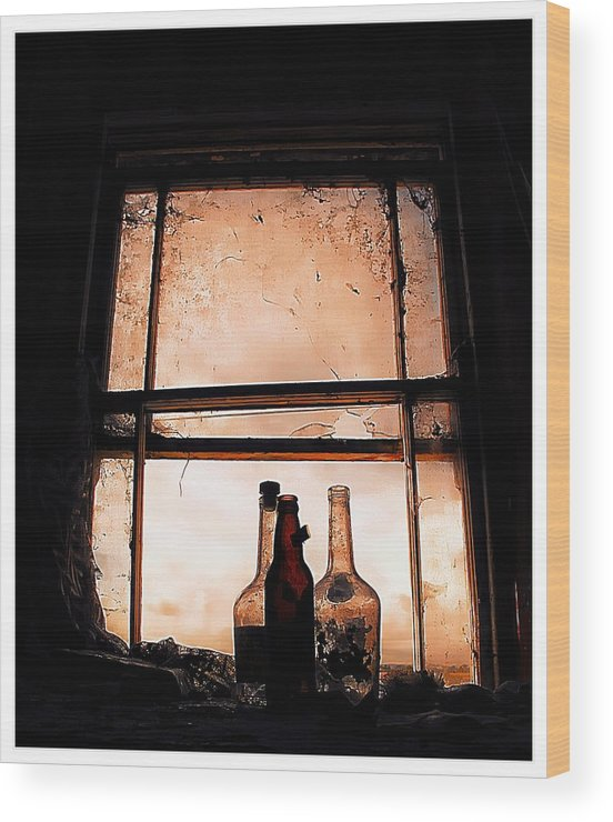 Bottles Wood Print featuring the photograph Empty Bottles by Anne Costello