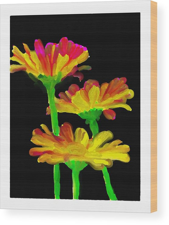 Flowers Wood Print featuring the digital art Flowers Quick Strokes by Ck Gandhi