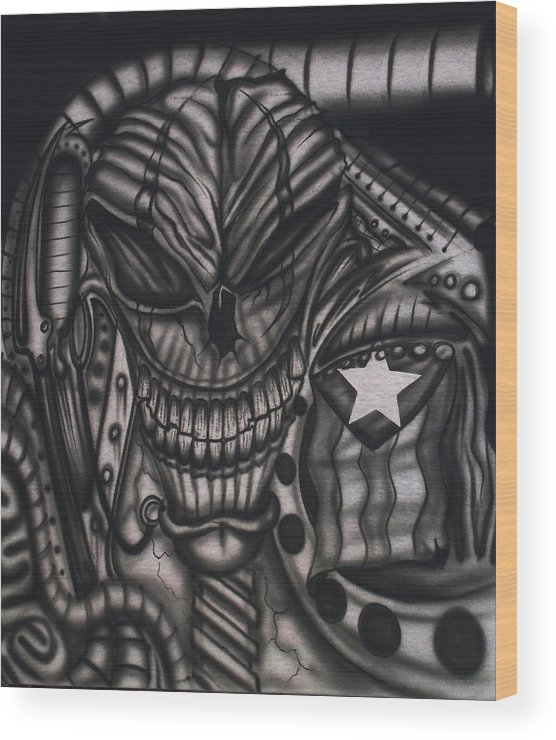 Airbrush Wood Print featuring the painting Freakin Rican by Robert Colon
