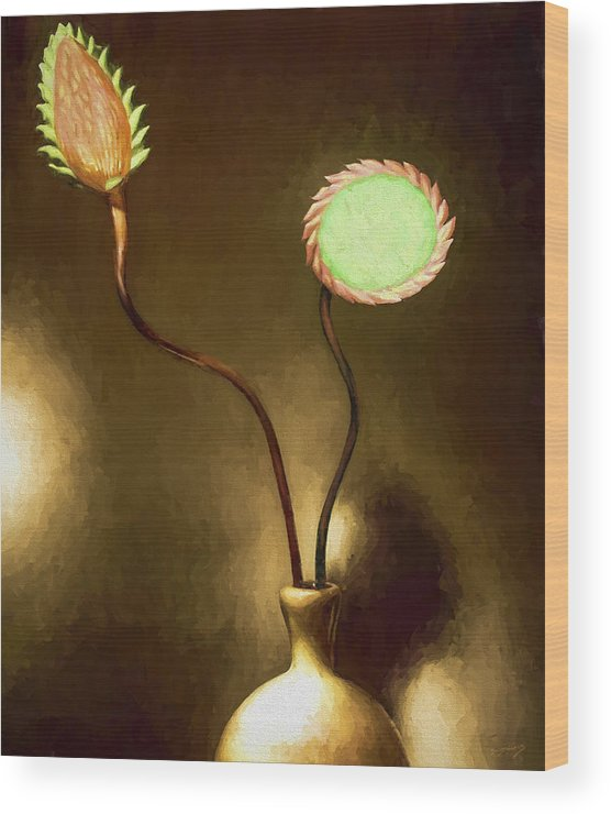 Fine Art Wood Print featuring the painting Glass Flowers by David Wagner