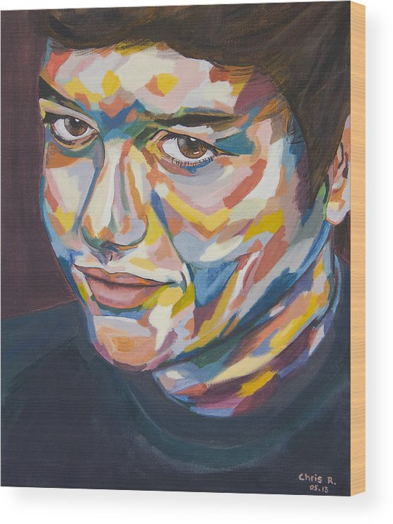Portrait Wood Print featuring the painting Julien by Christel Roelandt