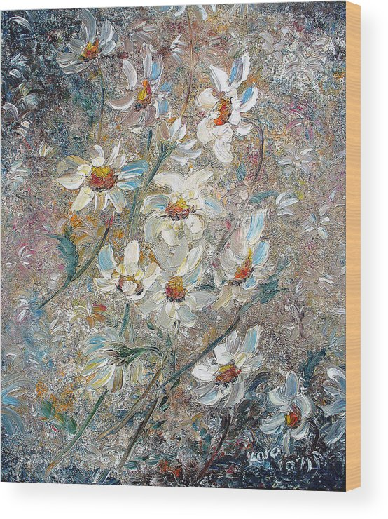 Daisies Painting Abstract Flower Painting Botanical Painting Bloom Greeting Card Painting Wood Print featuring the painting Just Dasies by Karin Dawn Kelshall- Best