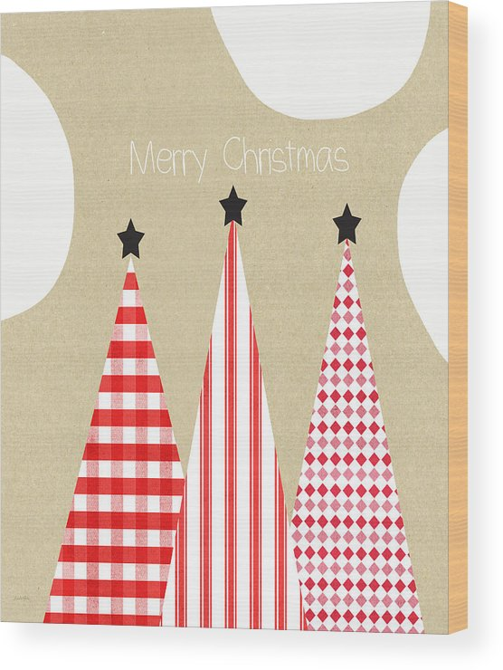 Christmas Wood Print featuring the mixed media Merry Christmas With Red And White Trees by Linda Woods