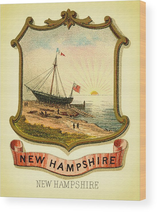 Lithograph Wood Print featuring the photograph New Hampshire Coat Of Arms - 1876 by Mountain Dreams