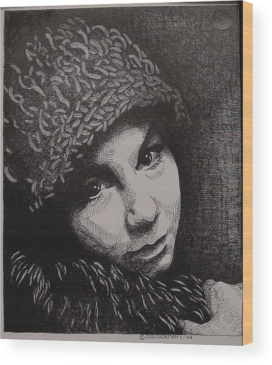 Portraiture Wood Print featuring the drawing Rena by Denis Gloudeman