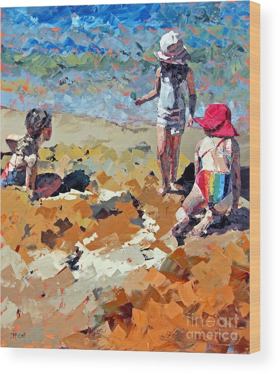 Claire Wood Print featuring the painting Sandcastles IIi by Claire McCall