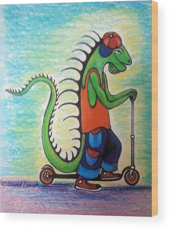 Greeting Card Wood Print featuring the pastel Scooter Iguana by David Francke