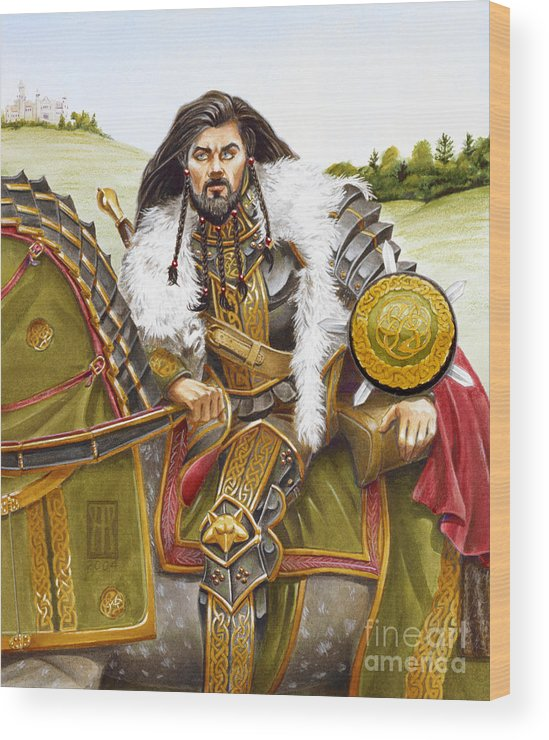 Fine Art Wood Print featuring the painting Sir Marhaus by Melissa A Benson