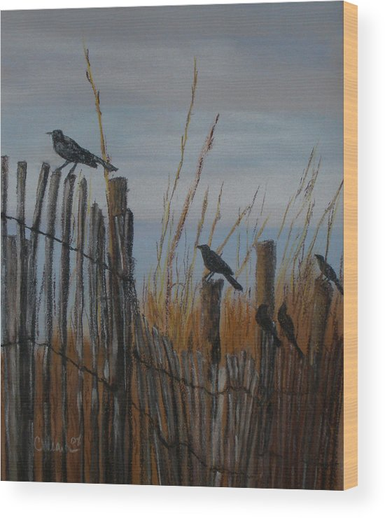 Nature Wood Print featuring the painting The Gathering by Cathy Weaver