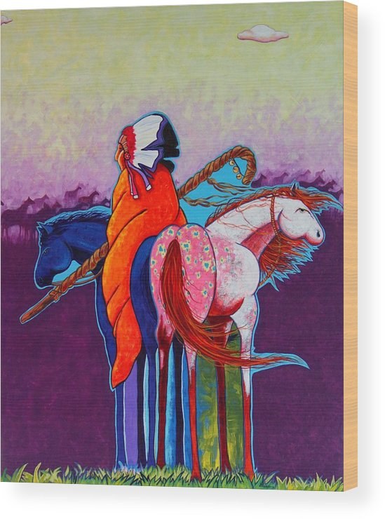 Native American Wood Print featuring the painting The Peacemakers Gift by Joe Triano