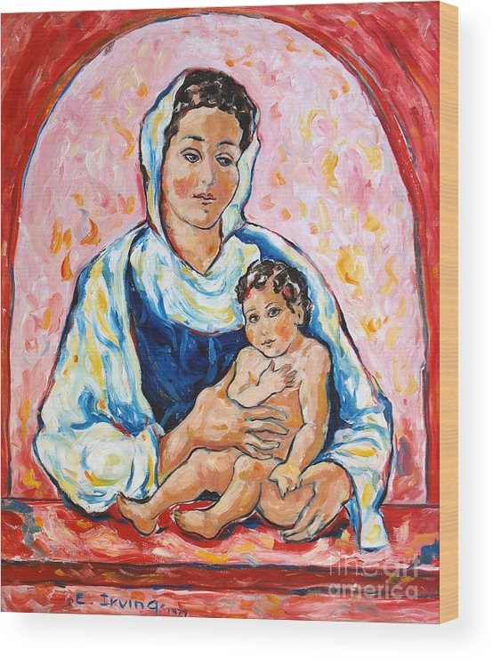 Mother And Child Wood Print featuring the painting Mother And Child by Elena Irving