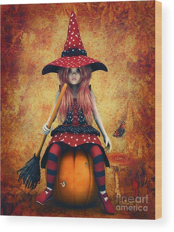3d Wood Print featuring the digital art Cutest Little Witch by Jutta Maria Pusl