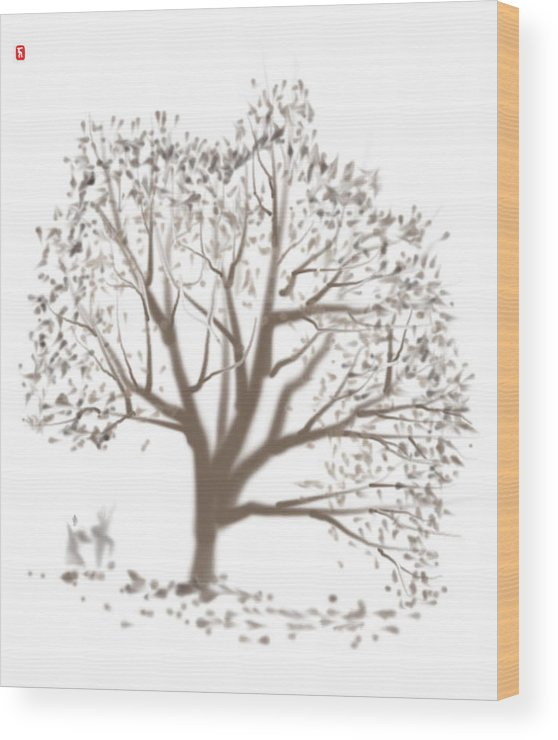 Nature Wood Print featuring the painting Falling Leaves by Timothy Nieberding