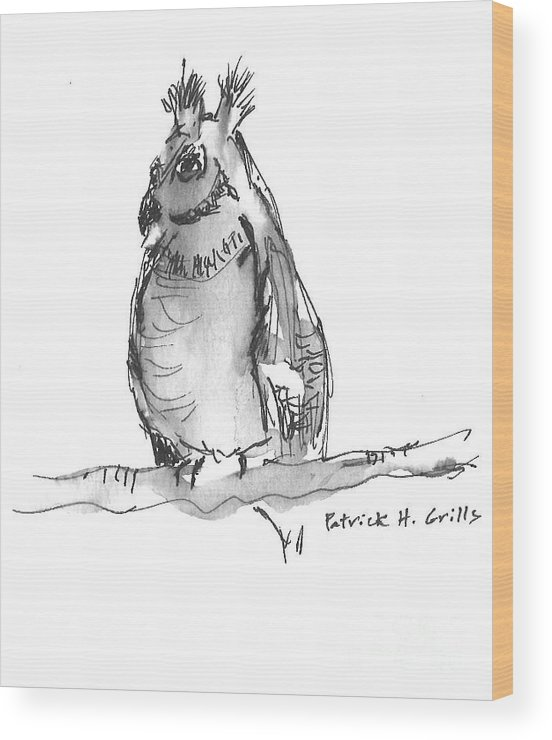 Great Horned Owl Wood Print featuring the painting Great Horned Owl by Patrick Grills