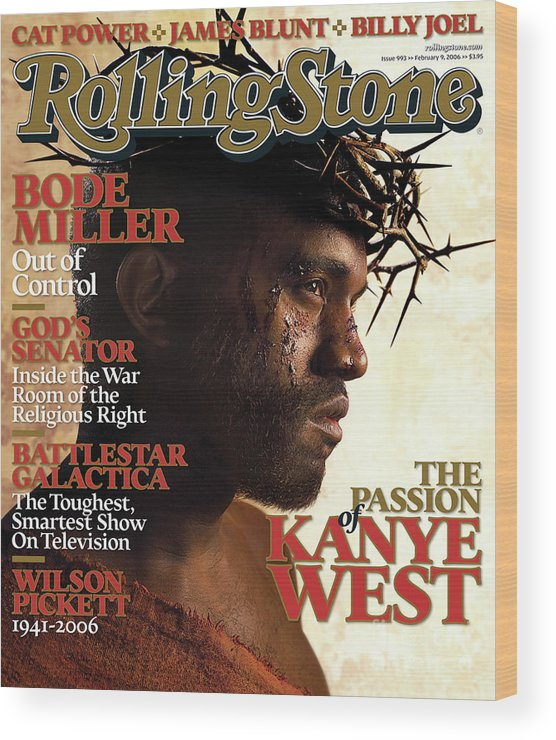 Kanye West Wood Print featuring the photograph Rolling Stone Cover - Volume #993 - 2/9/2006 - Kanye West by David LaChapelle