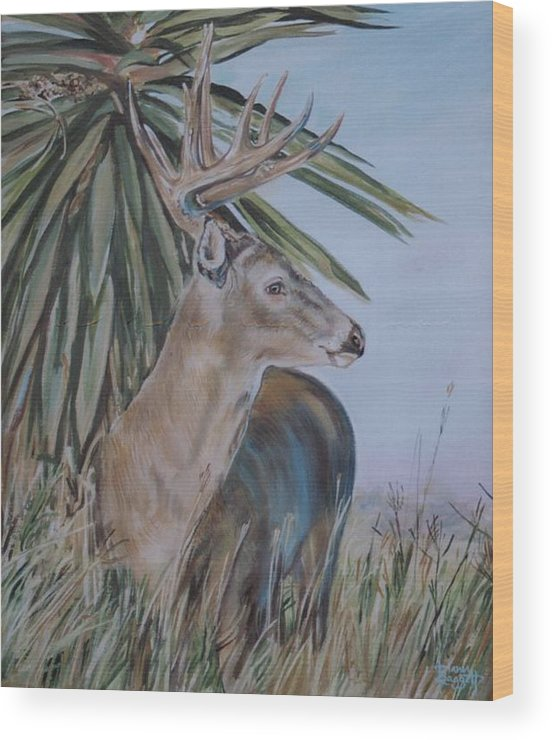 Animal Wood Print featuring the painting Berry Buck by Diann Baggett