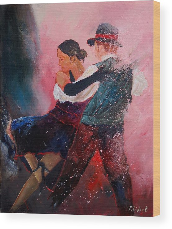 Music Wood Print featuring the painting Dancing Tango by Pol Ledent