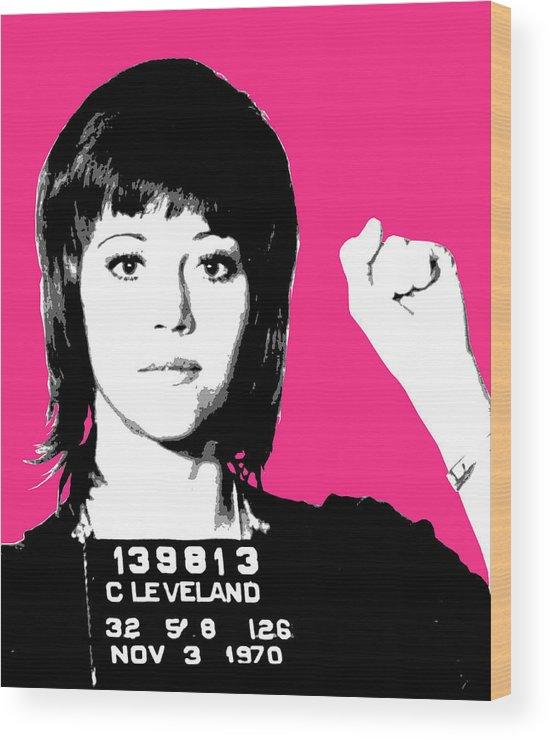 Jane Fonda Wood Print featuring the digital art Jane Fonda Mug Shot - Pink by Gary Hogben
