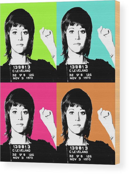 Jane Fonda Wood Print featuring the digital art Jane Fonda Mug Shot X4 by Gary Hogben