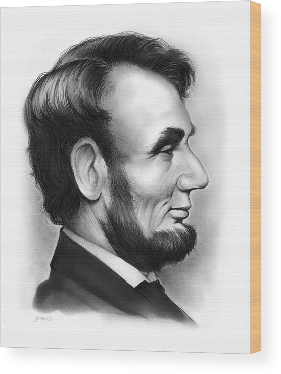 Lincoln Wood Print featuring the drawing Lincoln by Greg Joens
