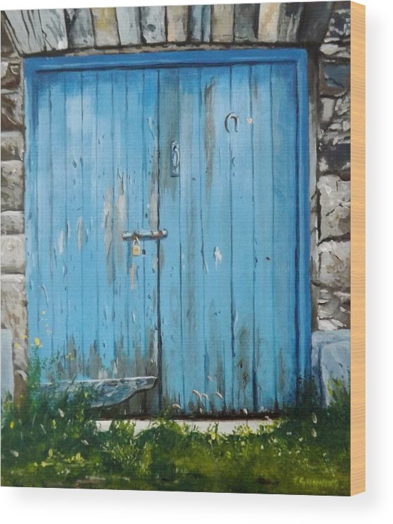 Door Wood Print featuring the painting The Blue Door by Tony Gunning